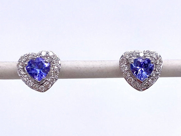 Heart Shaped Tanzanite and Diamond Stud Earrings F330B33827