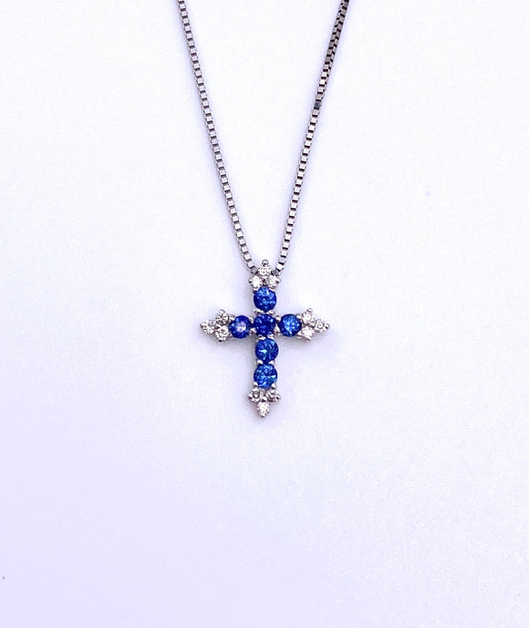 Sapphire and Diamond Cross Necklace F223DP256OSW