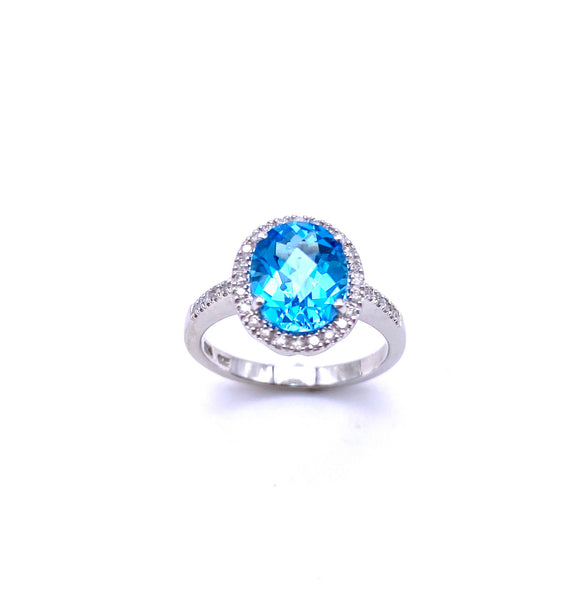 Oval Shaped Blue Topaz and Diamond Ring C330B351741