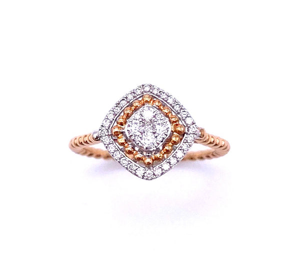 Square Design Diamond Ring in Rose Gold A804RGDIA05079