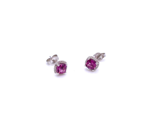 Square Shaped Rhodolite Garnet Post Earrings F038ECK10012