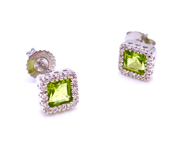 Princess Cut Peridot and Diamond Earrings F085E69285W44PE