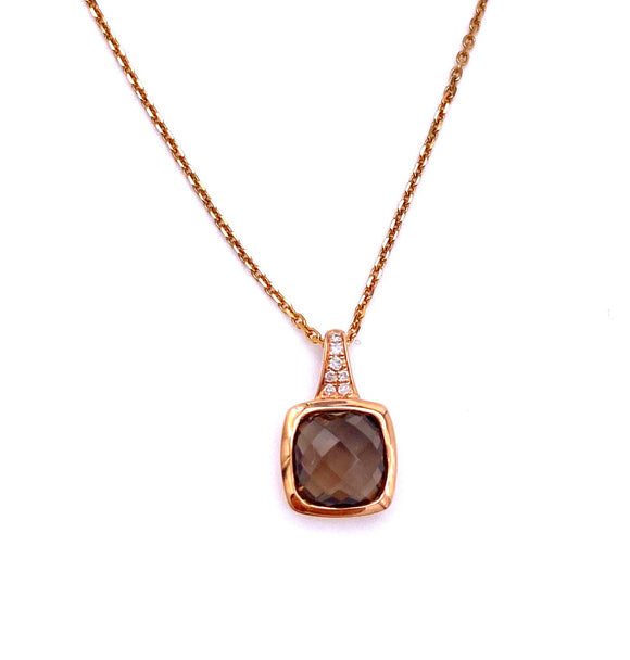 Smokey Quartz Necklace in Rose Gold F401N01930