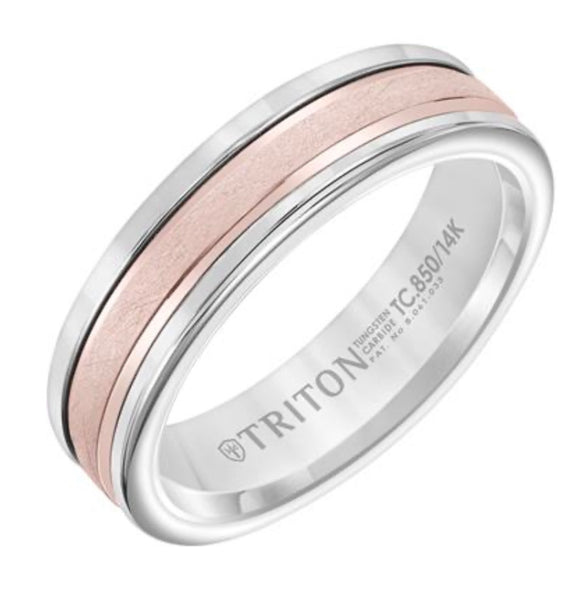 Triton Tungsten Carbide and Rose Gold Wedding Band D00511-2405
