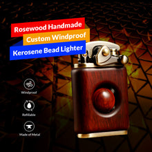 Load image into Gallery viewer, Rosewood Handmade Custom Windproof Kerosene Bead Lighter