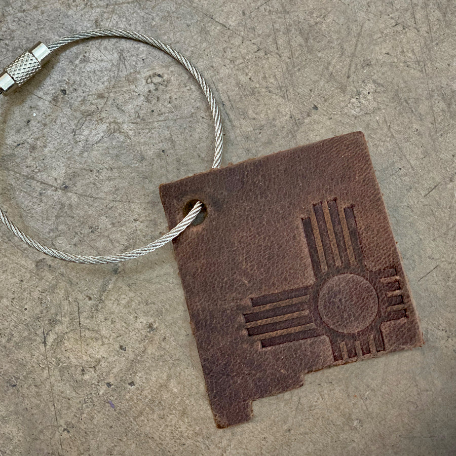 State Zia Leather Keychain