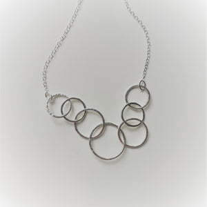 Sterling Silver Seven Ring Interlocking Circle Necklace - Shine On Shop