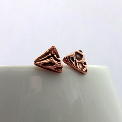Copper Triangle Textured Studs - Shine On Shop