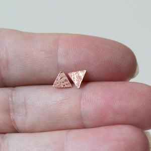Copper Tiny Triangle Studs - Shine On Shop