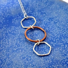 Load image into Gallery viewer, Mixed Metal Geometric Necklace in Sterling Silver and Copper - Shine On Shop