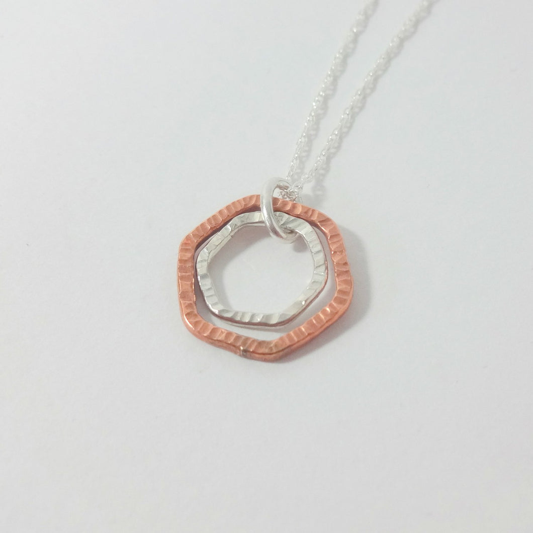 Modern Geometric Mixed Metal Necklace - Shine On Shop