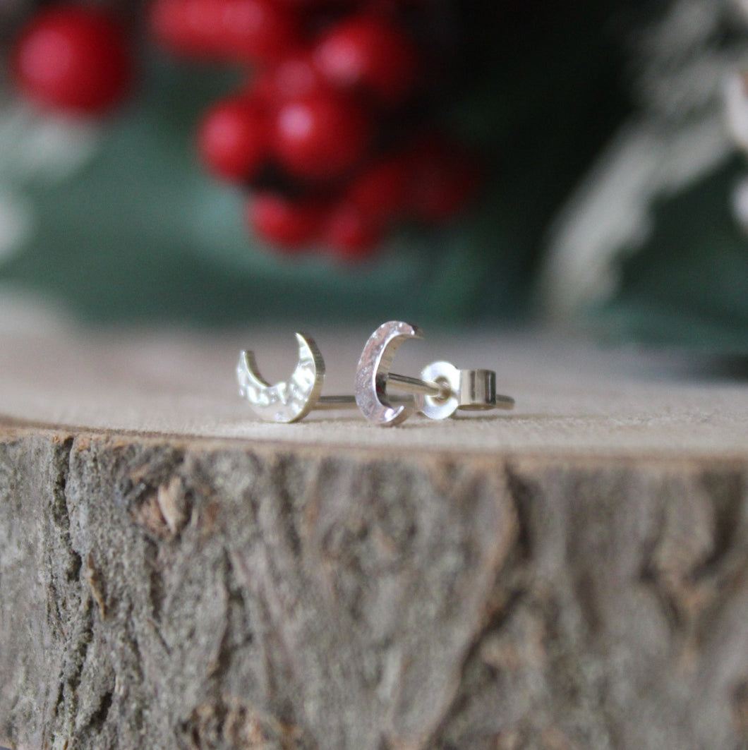 Sterling Silver Moon and Star Studs - Shine On Shop