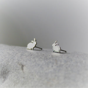 Tiny Sterling Silver Bunny Studs - Shine On Shop