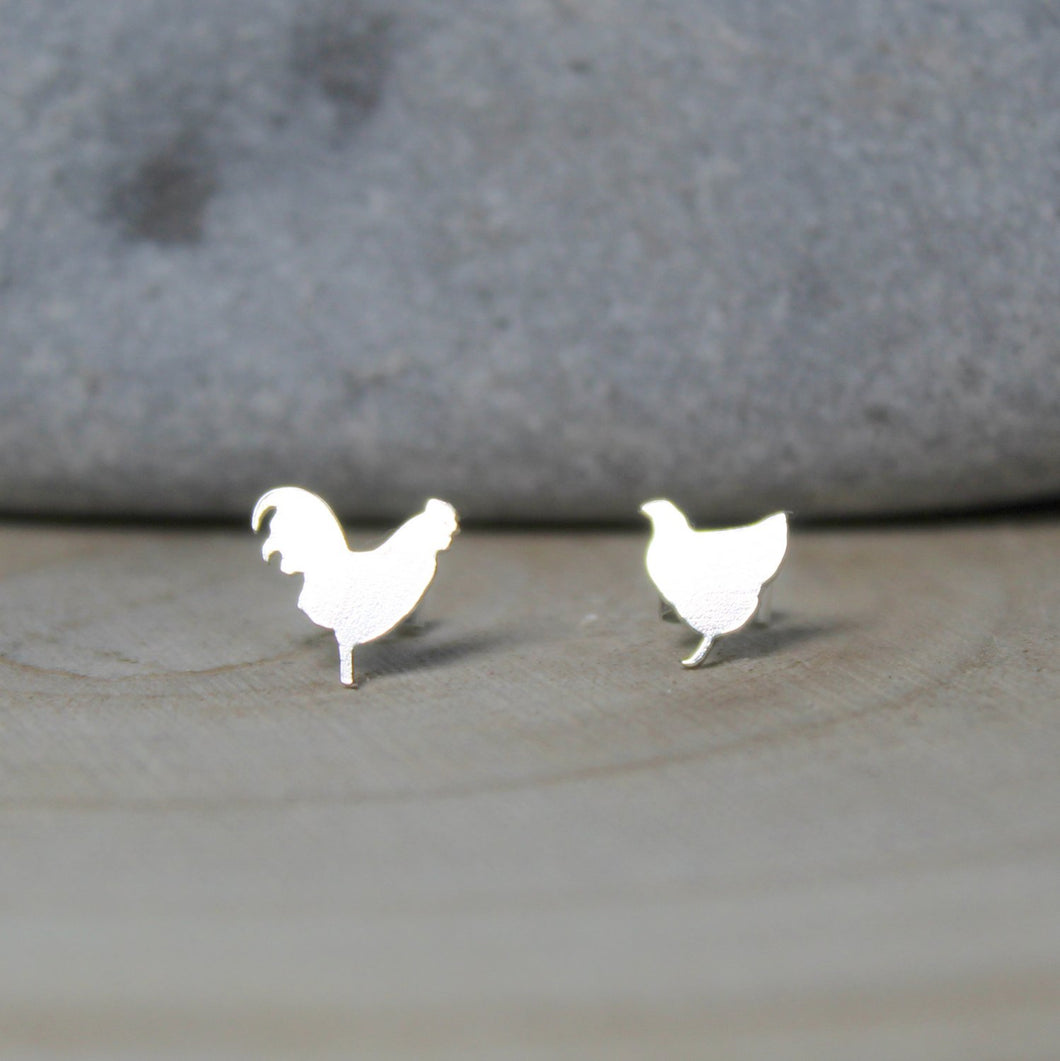 Sterling Silver Chicken Stud Earrings - Shine On Shop