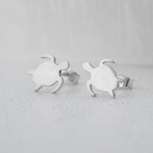 Load image into Gallery viewer, Small Sterling Silver Turtle Earrings