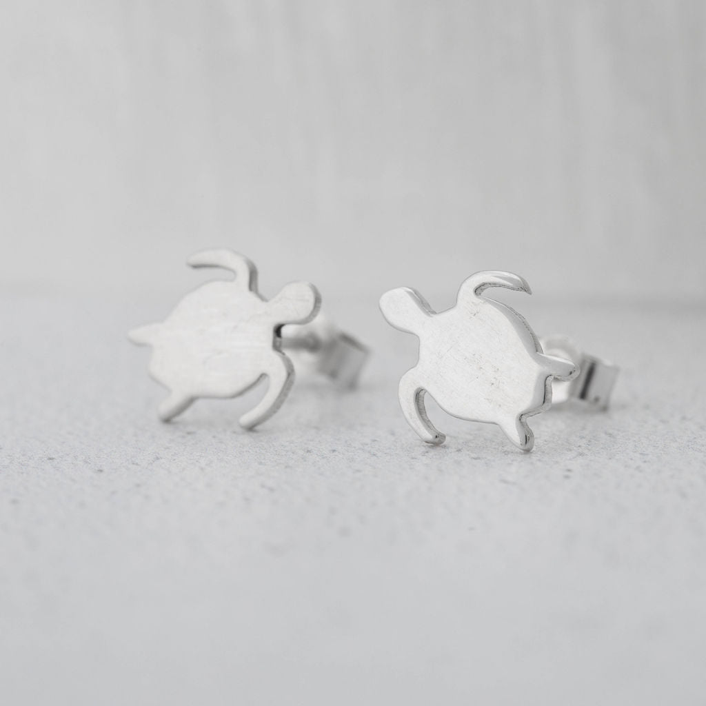 Small Sterling Silver Turtle Earrings