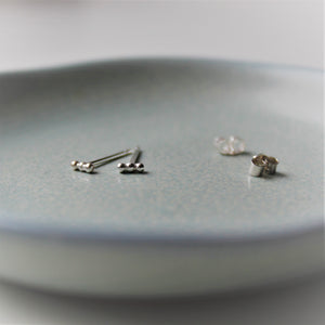 Sterling Silver Bubble Mini Bar Studs - Teeny Tiny Shinies - Shine On