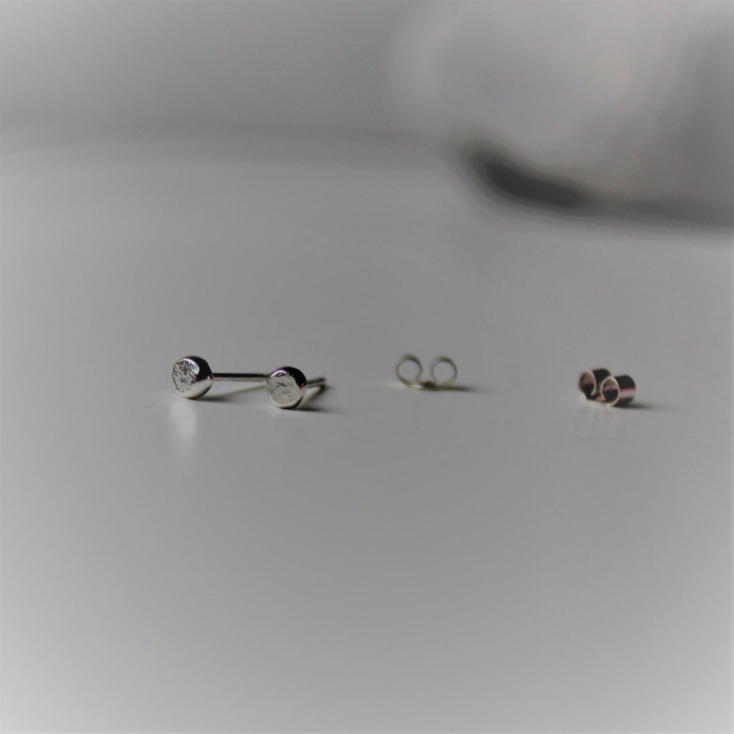 Sterling Silver Hammered Pebble Studs - Shine On Shop