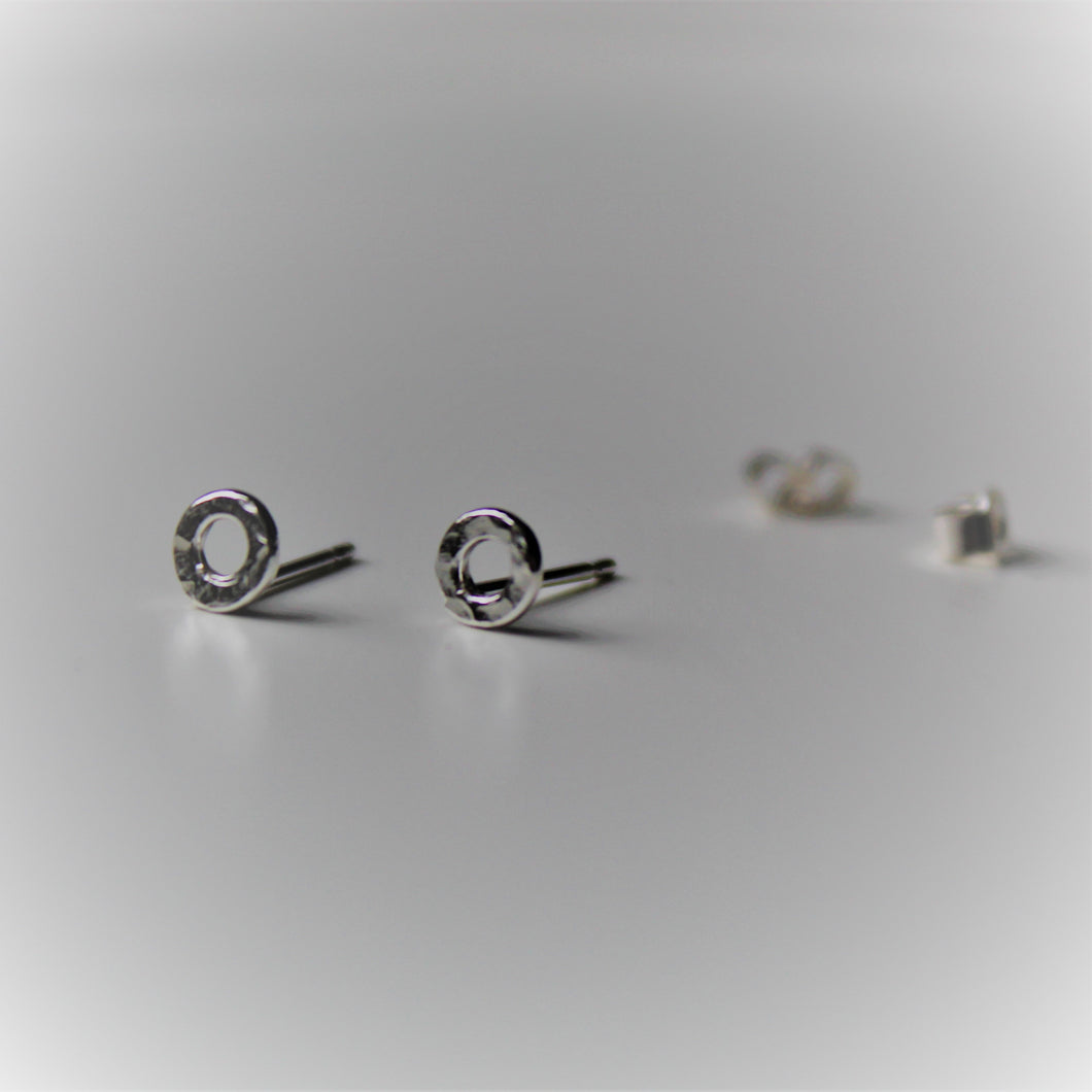 Sterling Silver Textured Open Circle Studs - Teeny Tiny Shinies - Shine On