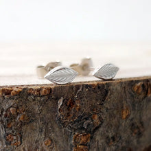 Load image into Gallery viewer, Tiny Sterling Silver Leaf Studs - Shine On Shop