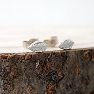 Tiny Sterling Silver Leaf Studs - Shine On Shop
