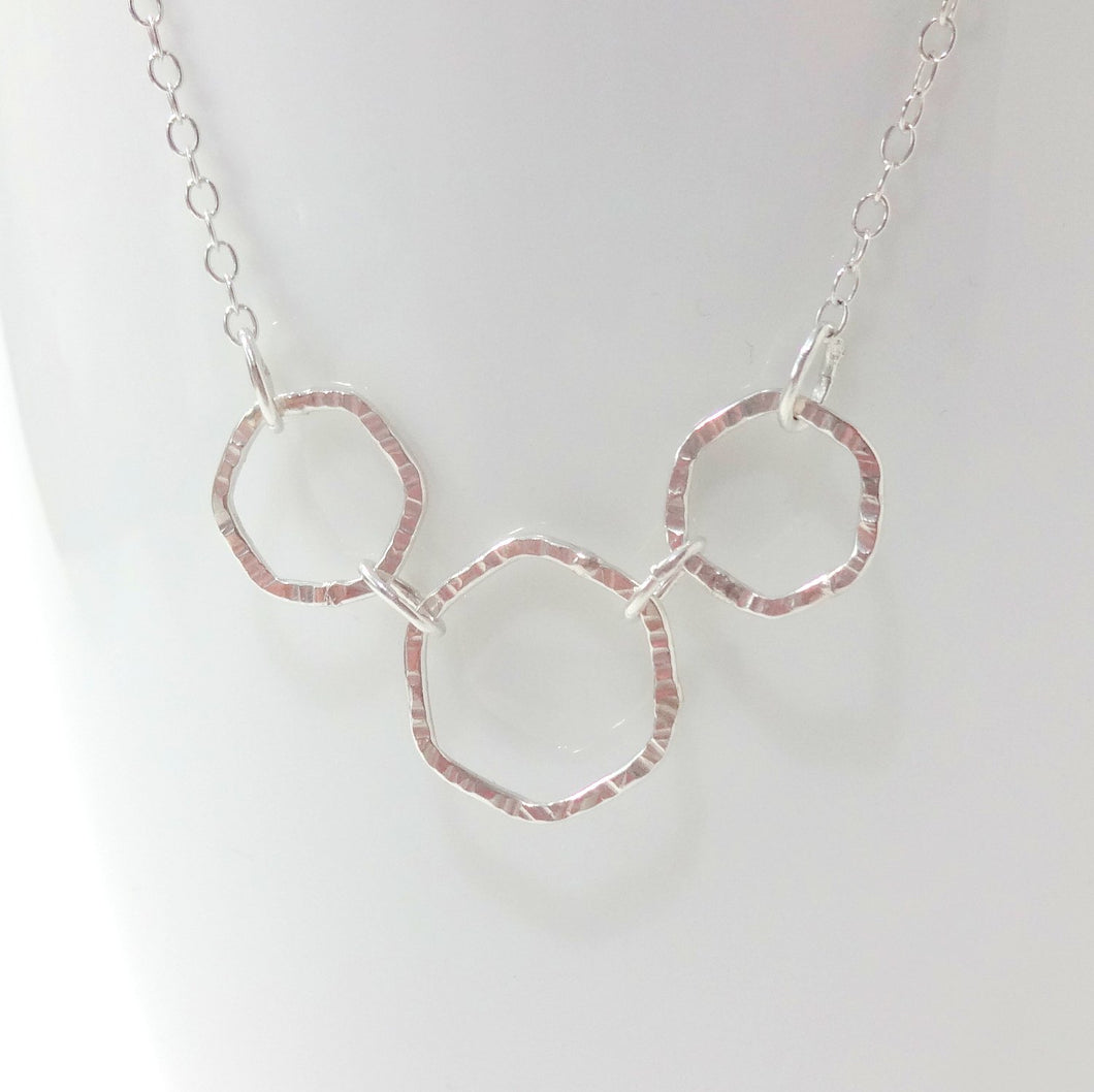 Sterling Silver Triple Hex Necklace - Shine On Shop
