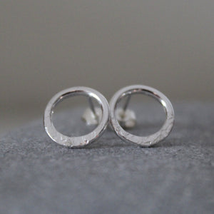 Eclipse Dainty Sterling Silver Circle Studs - Shine On Shop