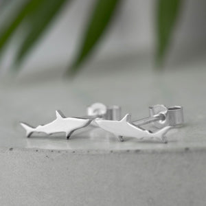 Tiny Sterling Silver Shark Studs - Shine On