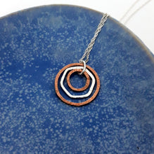Load image into Gallery viewer, Triple Ring Necklace in Sterling Silver and Copper - Shine On Shop