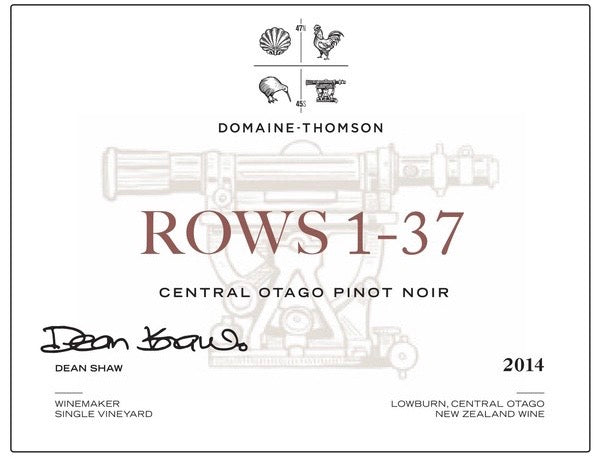 domaine thomson rows 1-37 pinot noir 2014 red wine