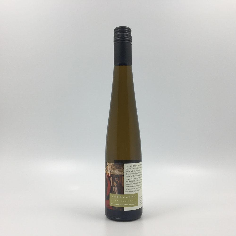 bottle of brangayne late harvest riesling 2015 sweet wine