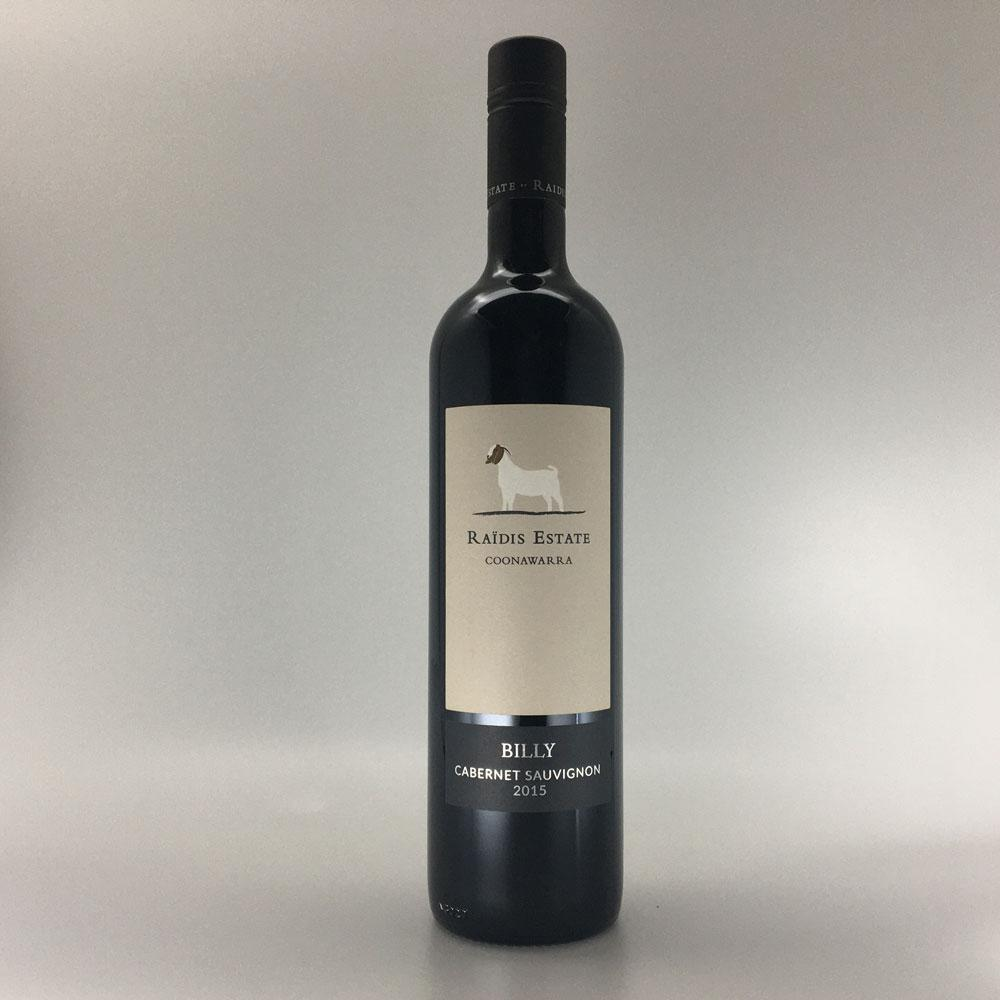bottle of RAIDIS ESTATE 'Billy' CABERNET SAUVIGNON 2015 Red Wine Cultivate Local