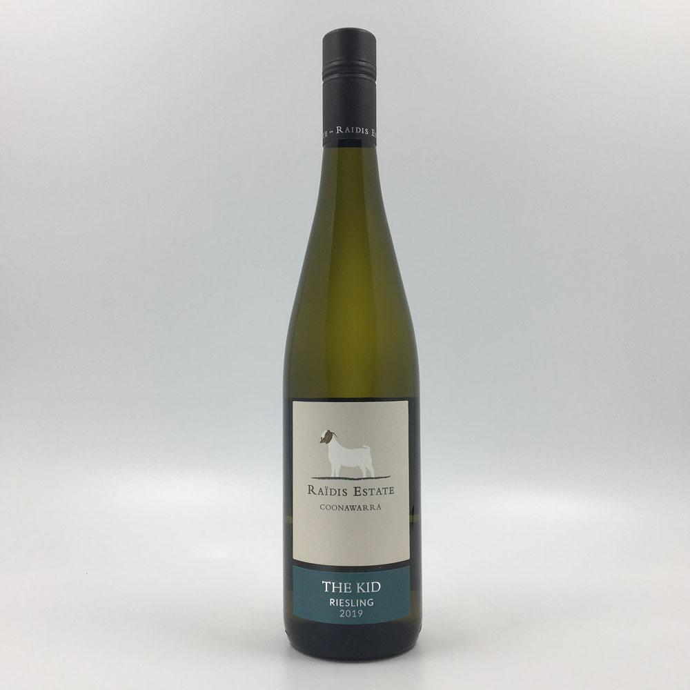 bottle of RAIDIS ESTATE 'The Kid' RIESLING 2019 White Wine Cultivate Local