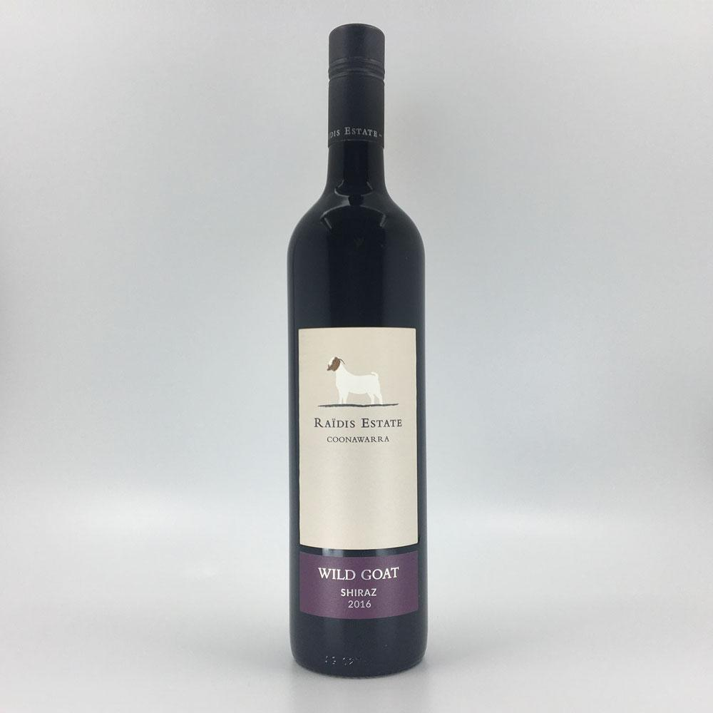 bottle of RAIDIS ESTATE 'Wild Goat' SHIRAZ 2016 Red Wine Cultivate Local