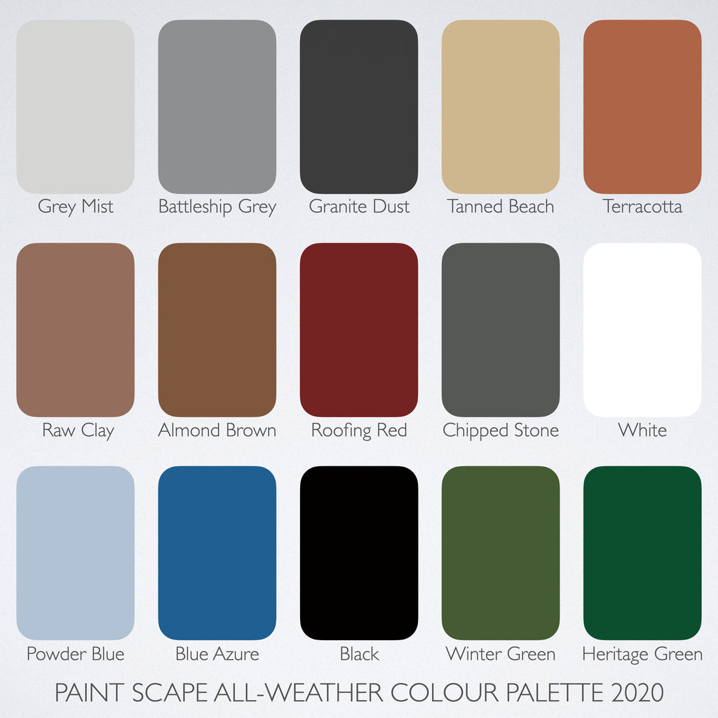 All-Weather Paint Colour Chart 2020- Paint Scape Paints