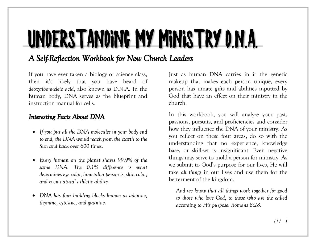 Workbooks workbook live : Understanding My Ministry DNA Workbook – Paul Records
