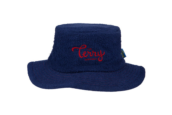 The Downunder Narrow Brim Terry Towelling Bucket Hat-Navy