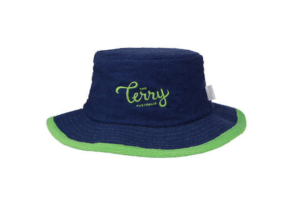 The Wave Narrow Brim Terry Towelling Bucket Hat-Navy/Green