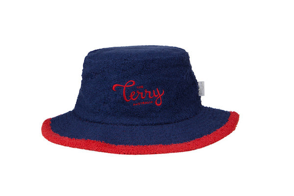 The Sandman Narrow Brim Terry Towelling Bucket Hat-Navy/Red