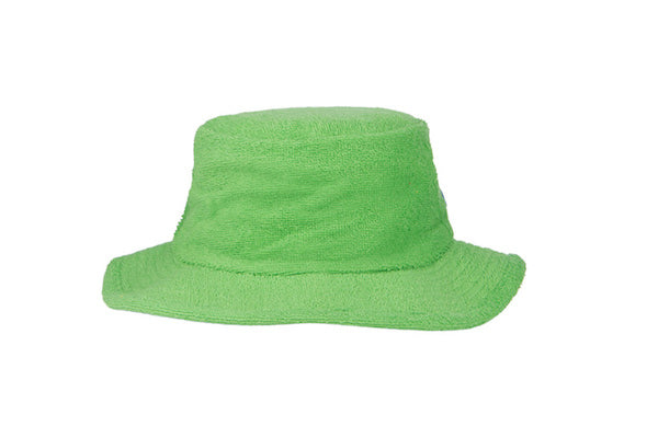 Terry Towelling Bucket Hat-Narrow Brim Green