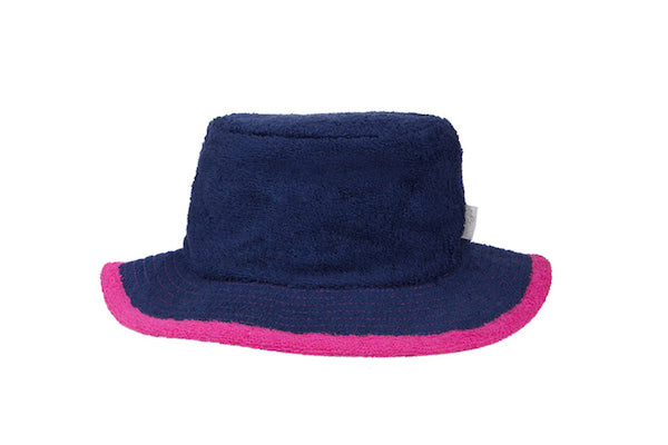 Plain Navy & Hot Pink Narrow Brim Terry Towelling Hat - The Terry Australia