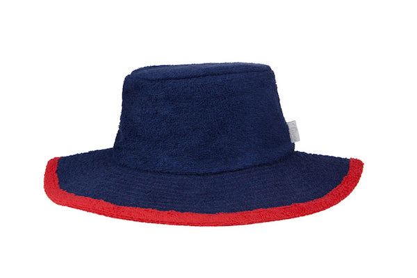 Plain Navy & Red Wide Brim Terry Towelling Bucket Hat - The Terry Australia
