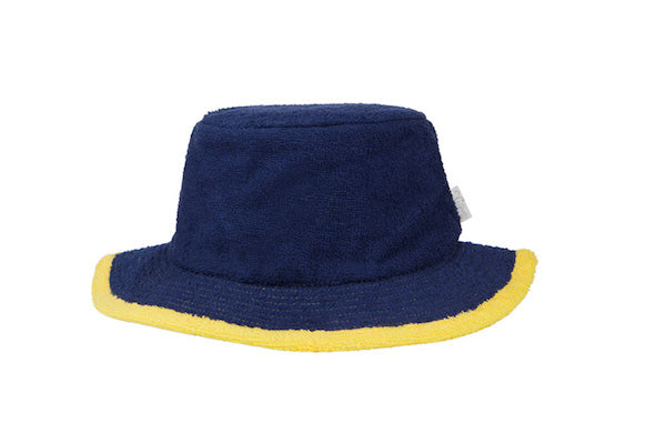 Plain Navy & Yellow Narrow Brim Terry Towelling Hat - The Terry Australia