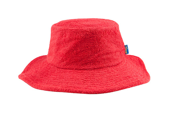 Terry Towelling Bucket Hat-Wide Brim Red