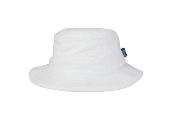 Terry Towelling Bucket Hat-Narrow Brim White