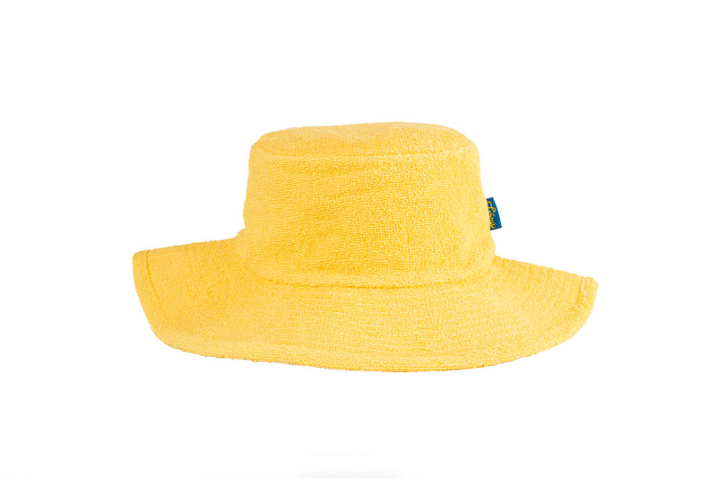 Terry Towelling Bucket Hat-Wide Brim Yellow