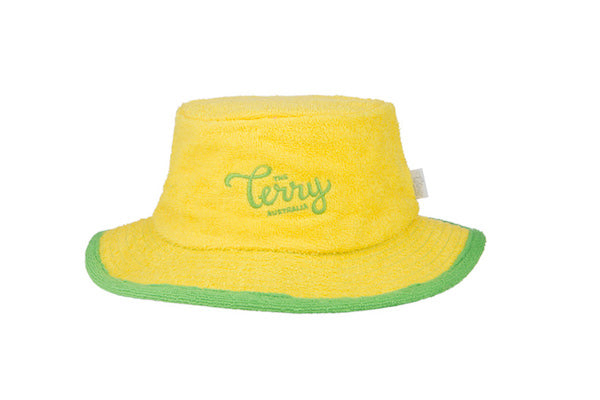 The Australian Salute Narrow Brim Terry Towelling Bucket Hat-Yellow/Green