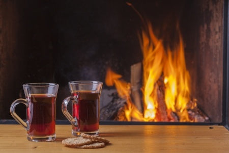 Flavored tea by the fireside