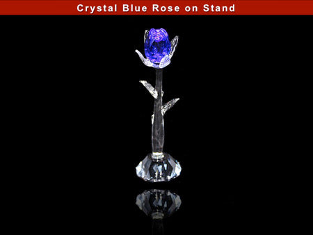 Crystal Blue Rose on Stand