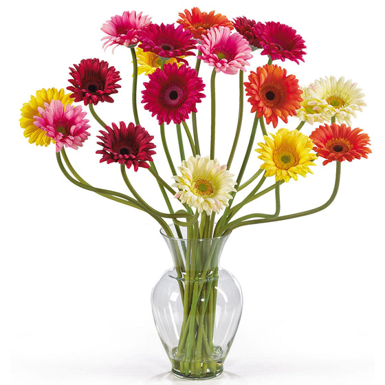 Assorted Color Gerber Daisy Silk Flower Arrangement